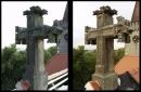 Restaurování kříže na střeše kostela ve Slatiňanec