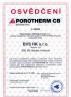 BVS HK - certifikat Porotherm